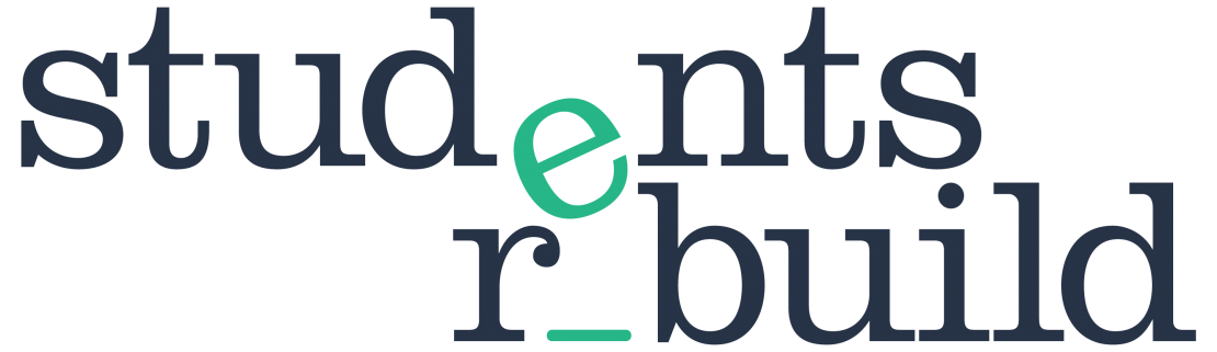 the word students written above the word rebuild, and they both share a green letter e