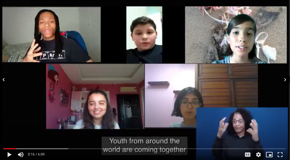 Screen grab from a video showing 5 youth in a live video conference event, with a ASL interpreter and captions